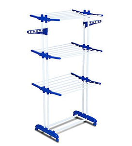 PARASNATH Prime Stainless Steel 2 Poll Clothes Drying Stand With Breaking Wheel System- Blue - PARASNATH MADE IN INDIA