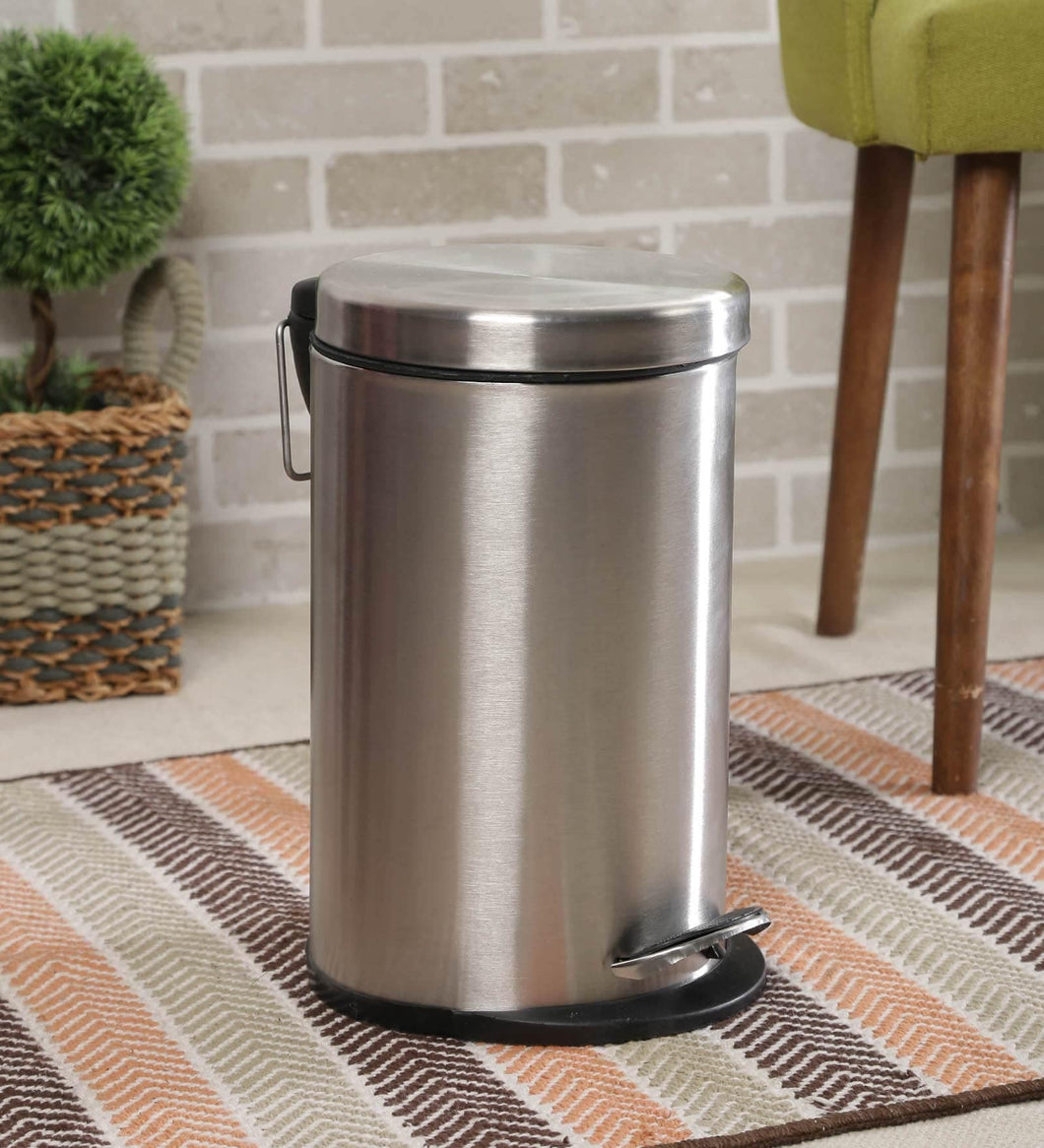 Parasnath Stainless Steel Plain Pedal Dustbin With Plastic Bucket (7''X11''- 5 Liter) - PARASNATH MADE IN INDIA