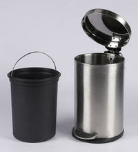 Load image into Gallery viewer, Parasnath Stainless Steel Plain Pedal Dustbin With Plastic Bucket (10''X15''- 11 Liter) - PARASNATH MADE IN INDIA