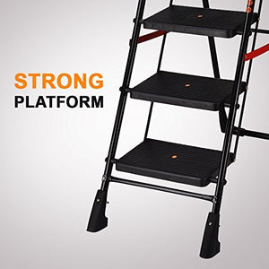 PARASNATH Back Diamond Heavy Folding Ladder With Wide Steps 7 Steps 7.3 Ft - PARASNATH MADE IN INDIA