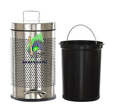 Load image into Gallery viewer, Parasnath Stainless Steel Round Perforated Pedal Dustbin With Plastic Bucket (8''X13''- 7 Liter) - PARASNATH MADE IN INDIA