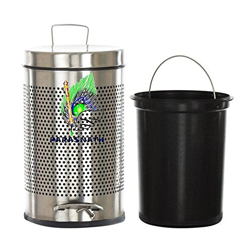 Parasnath Stainless Steel Round Perforated Pedal Dustbin With Plastic Bucket (8''X13''- 7 Liter) - PARASNATH MADE IN INDIA