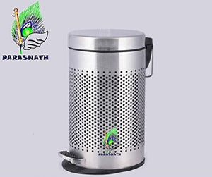 Parasnath Stainless Steel Round Perforated Pedal Dustbin With Plastic Bucket (12''X20''- 20 Liter) - PARASNATH MADE IN INDIA