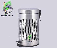 Load image into Gallery viewer, Parasnath Stainless Steel Round Perforated Pedal Dustbin With Plastic Bucket (10''X15''- 11 Liter) - PARASNATH MADE IN INDIA