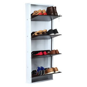 Parasnath BrownWhite Wall Shoe Rack 4 Shelves Shoes Stand - PARASNATH MADE IN INDIA