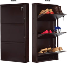 Load image into Gallery viewer, PARASNATH Coffee Colour Wall Shoe Rack 3 Shelves Shoes Stand - PARASNATH