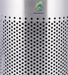 Parasnath Stainless Steel Round Perforated Pedal Dustbin With Plastic Bucket (10''X15''- 11 Liter) - PARASNATH MADE IN INDIA