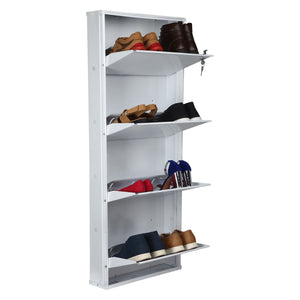 Parasnath Pure White Wall Shoe Rack 4 Shelves Shoes Stand - PARASNATH