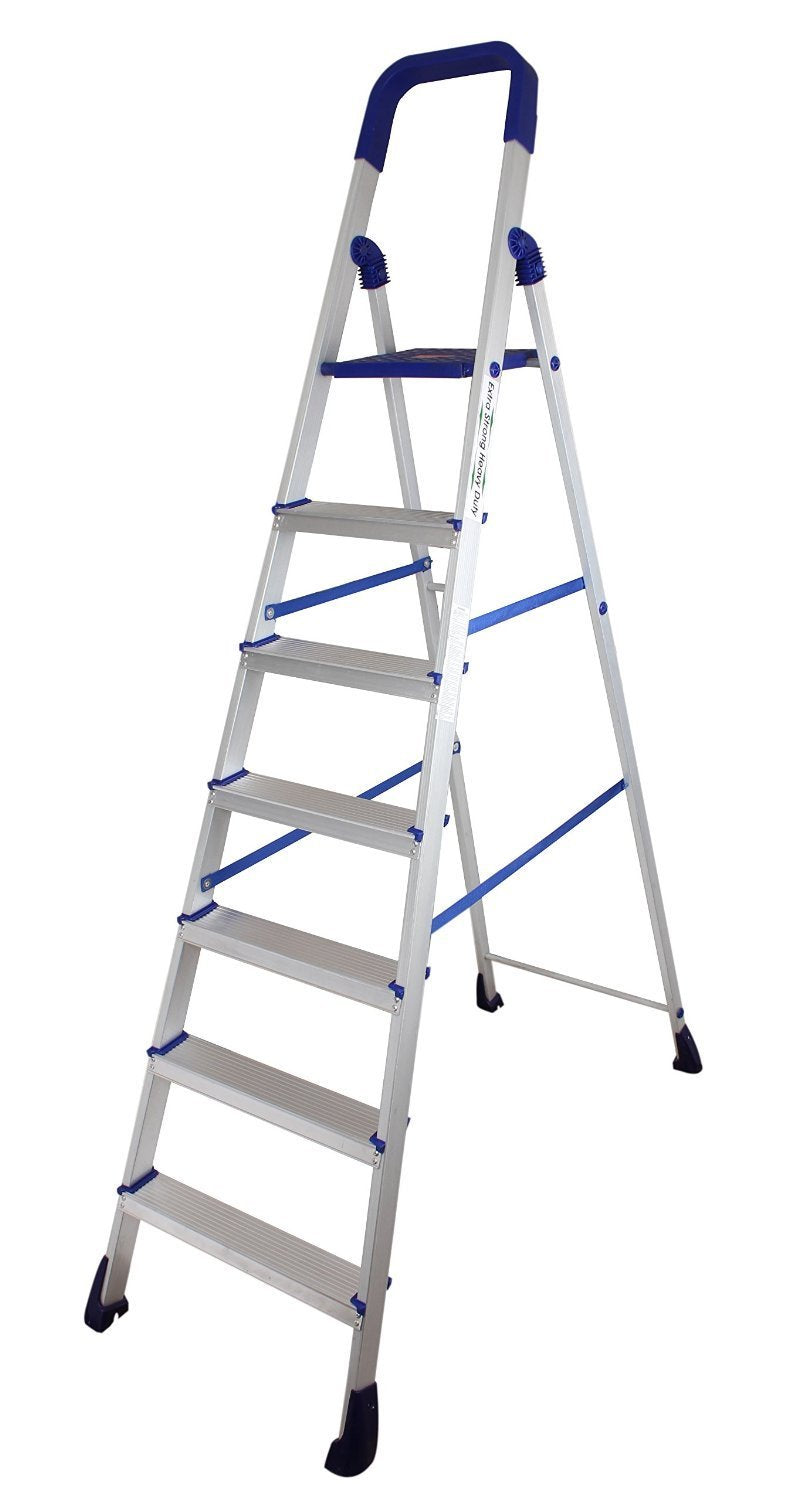 PARASNATH Aluminium Blue Heavy Folding Maple Ladder 7 Step 7.3 Ft - PARASNATH MADE IN INDIA