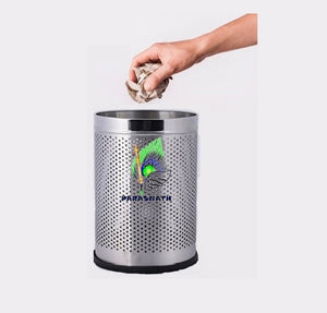 Parasnath Stainless Steel Perforated Round Dustbin, 8L - 8 X 13 Inch - PARASNATH