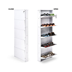 Parasnath Pure White Colour Wall Shoe Rack 5 Shelves Shoes Stand - PARASNATH MADE IN INDIA