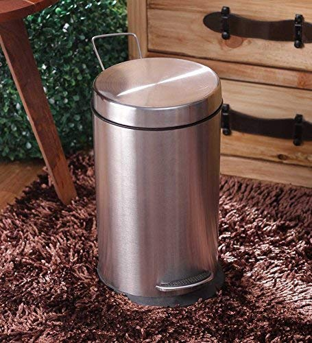Parasnath Stainless Steel Plain Pedal Dustbin With Plastic Bucket (10''X15''- 11 Liter) - PARASNATH MADE IN INDIA