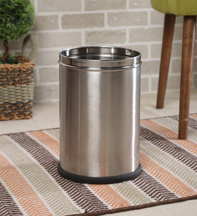 Parasnath Stainless Steel Plain Open Dustbin, 8L - 8X13 Inch - PARASNATH MADE IN INDIA