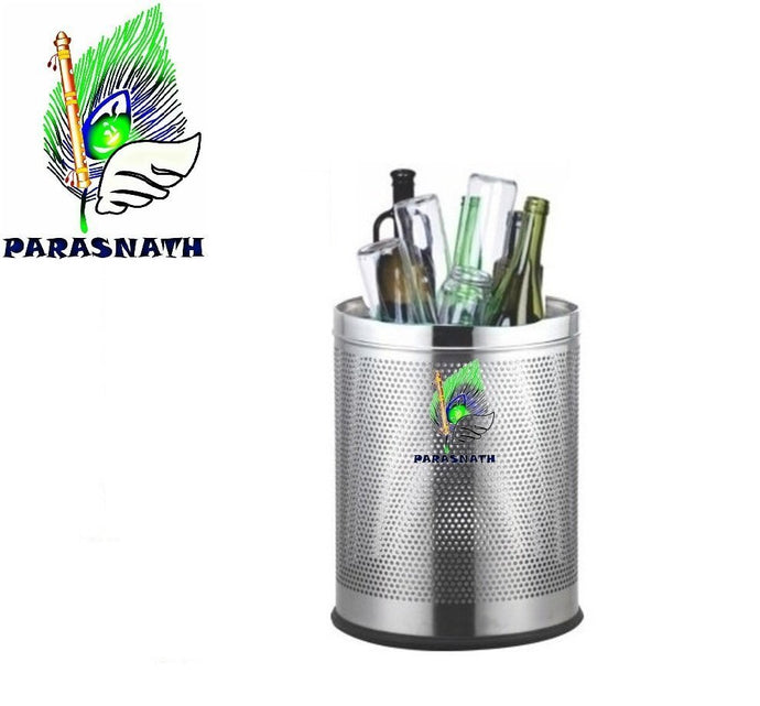 Parasnath Stainless Steel Perforated Round Dustbin, 11L - 10 X 15 Inch - PARASNATH MADE IN INDIA