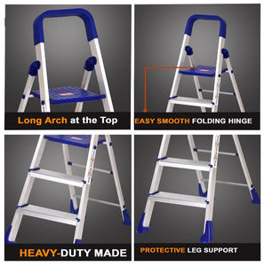 PARASNATH Aluminium Blue Heavy Folding Maple Ladder 5 Step 5.2 Ft - PARASNATH MADE IN INDIA