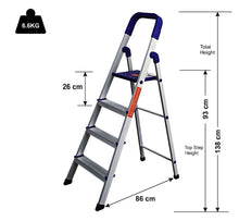 Load image into Gallery viewer, PARASNATH Aluminium Blue Heavy Folding Maple Ladder 3 Step 3.2 Ft - PARASNATH MADE IN INDIA