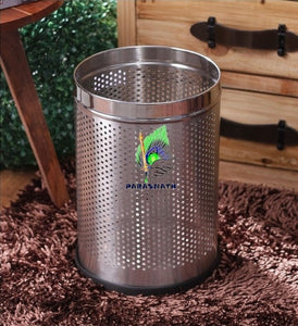 Parasnath Stainless Steel Perforated Round Dustbin, 6L - 7 X 11 Inch - PARASNATH MADE IN INDIA