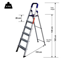 Load image into Gallery viewer, Parasnath Aluminium Heavy Folding Ladder Maple with Wide 6 Steps - PARASNATH MADE IN INDIA