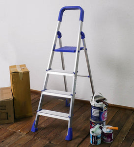 PARASNATH Aluminium Blue Heavy Folding Maple Ladder 4 Step 4.2 Ft - PARASNATH MADE IN INDIA