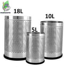 Load image into Gallery viewer, PARASNATH Stainless Steel Perforated Open Dustbin/ Garbage Bin Small, Medium and Large(Silver)- Set of 3 - PARASNATH MADE IN INDIA