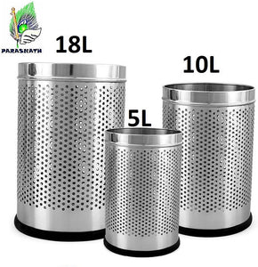 PARASNATH Stainless Steel Perforated Open Dustbin/ Garbage Bin Small, Medium and Large(Silver)- Set of 3 - PARASNATH MADE IN INDIA