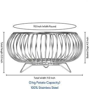 Parasnath Heavy Stainless Steel Vegetable and Fruit Bowl Basket - PARASNATH