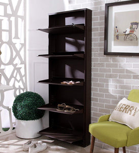 Parasnath Coffee Colour Wall Shoe Rack 5 Shelves Shoes Stand - PARASNATH MADE IN INDIA