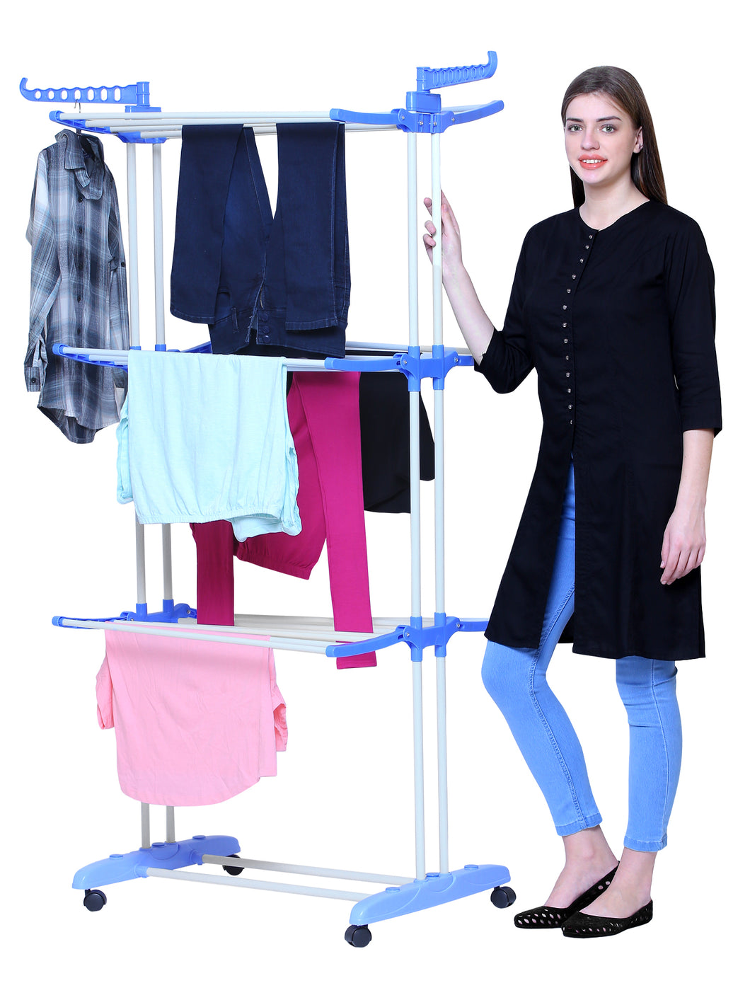 PARASNATH Steel 6 Layer Pole Clothes Drying Stand With Breaking Wheel System - PARASNATH MADE IN INDIA