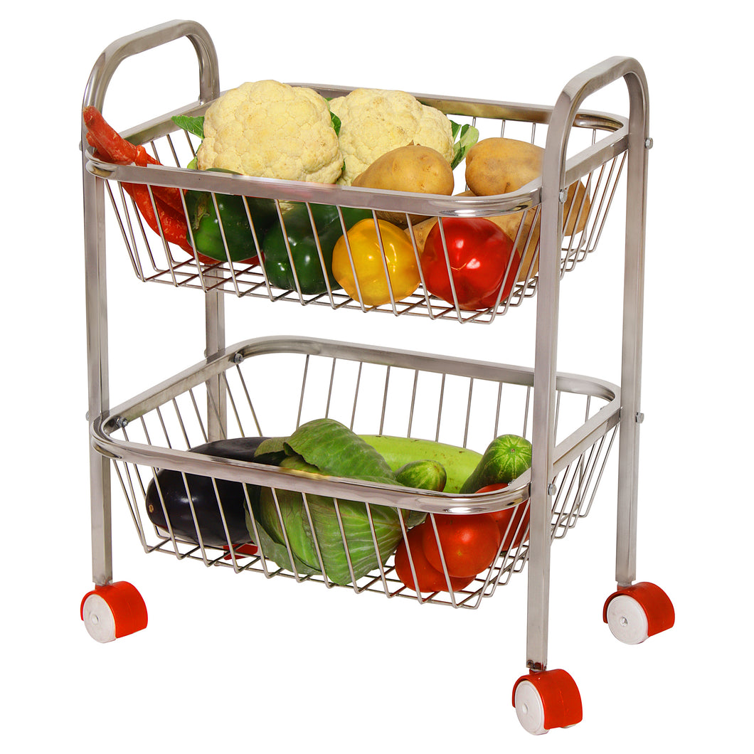 Parasnath Mirror Finish 2 Shelf Square Vegetable and Fruit Trolley, 2 Stand- 18 inch - PARASNATH MADE IN INDIA