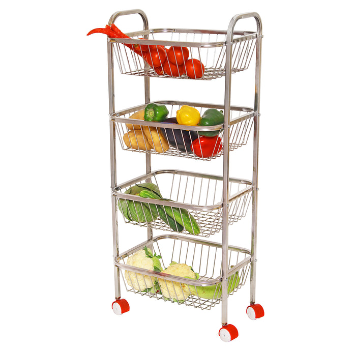 Parasnath Mirror Finish 4 Shelf Square Vegetable and Fruit Trolley - PARASNATH MADE IN INDIA