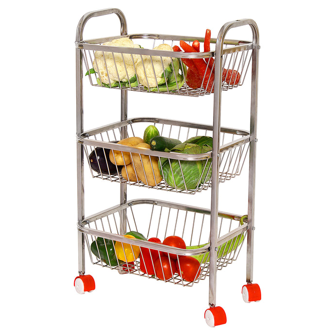 Parasnath Mirror Finish 3 Shelf Square Vegetable and Fruit Trolley, 3 Stand- 28 inch - PARASNATH