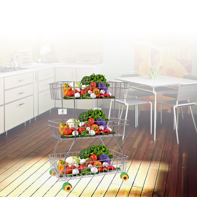 Parasnath Zig Zag Stainless Steel 3 Shelf Vegetable Stand for Kitchen and Fruit Trolley Basket Racks - PARASNATH MADE IN INDIA