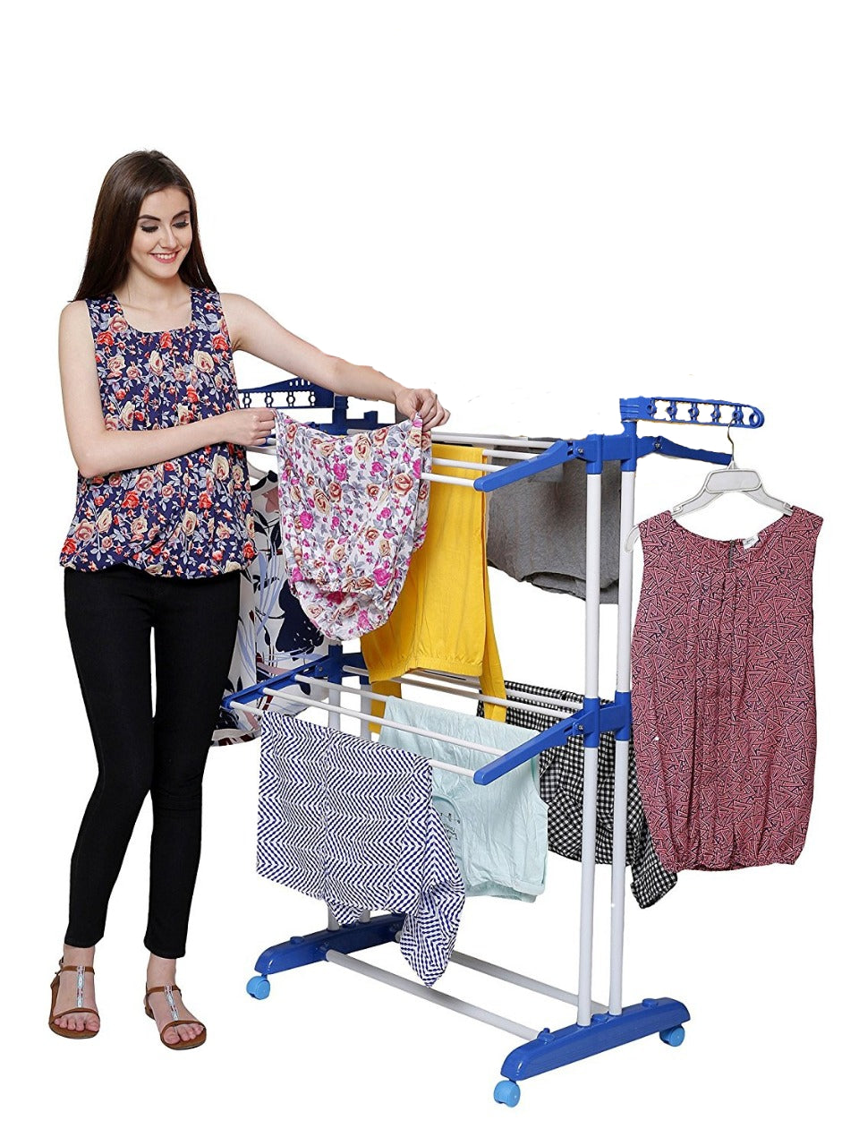 PARASNATH Prime Steel Mini Poll Clothes Drying Stand with Breaking Wheel System- Made in India - PARASNATH