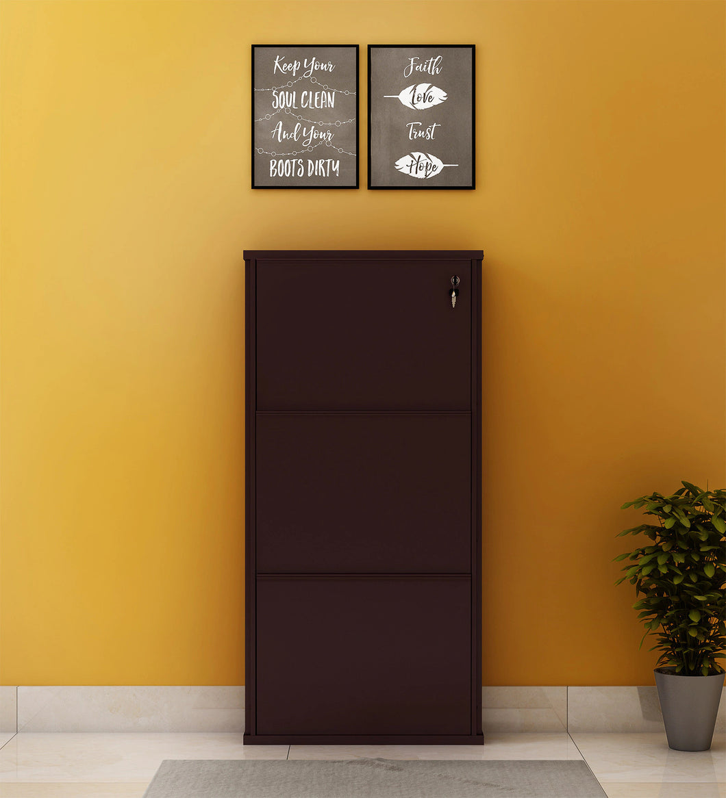 PARASNATH Coffee Colour Wall Shoe Rack 3 Shelves Shoes Stand - PARASNATH