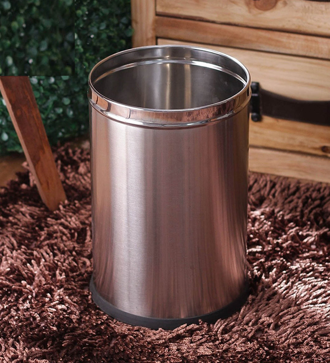 Parasnath Stainless Steel Plain Open Dustbin, 6L - 7 X 11 Inch - PARASNATH MADE IN INDIA