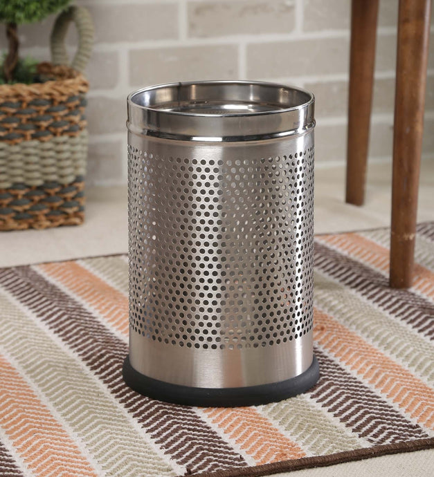 Parasnath Stainless Steel Perforated Round Dustbin, 8L - 8 X 13 Inch - PARASNATH MADE IN INDIA