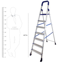 Load image into Gallery viewer, PARASNATH Aluminium Blue Heavy Folding Maple Ladder 7 Step 7.3 Ft - PARASNATH MADE IN INDIA