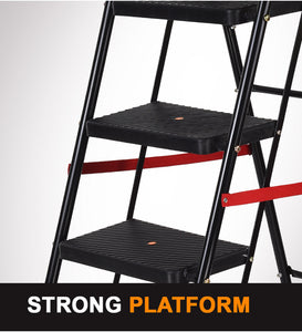 PARASNATH Back Diamond Heavy Folding Ladder With Wide Steps 6 Steps 6.2 Ft - PARASNATH