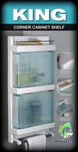 Load image into Gallery viewer, Parasnath King Corner Bathroom Crystal Door Cabinet Shelf with Towel Stand - PARASNATH