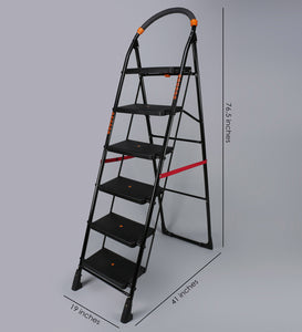 PARASNATH Back Diamond Heavy Folding Ladder With Wide Steps 6 Steps 6.2 Ft - PARASNATH MADE IN INDIA