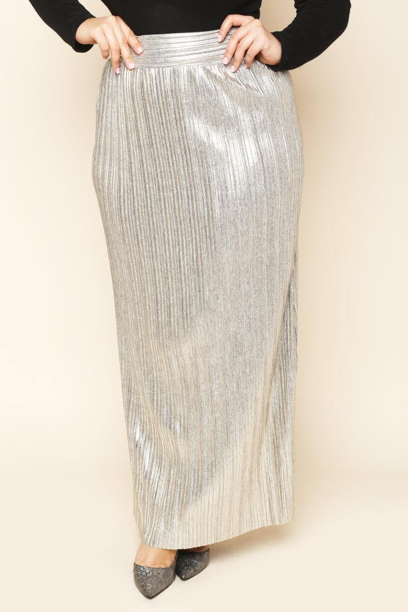 Glam To The Bone Metallic Skirt (Silver) (FINAL SALE)
