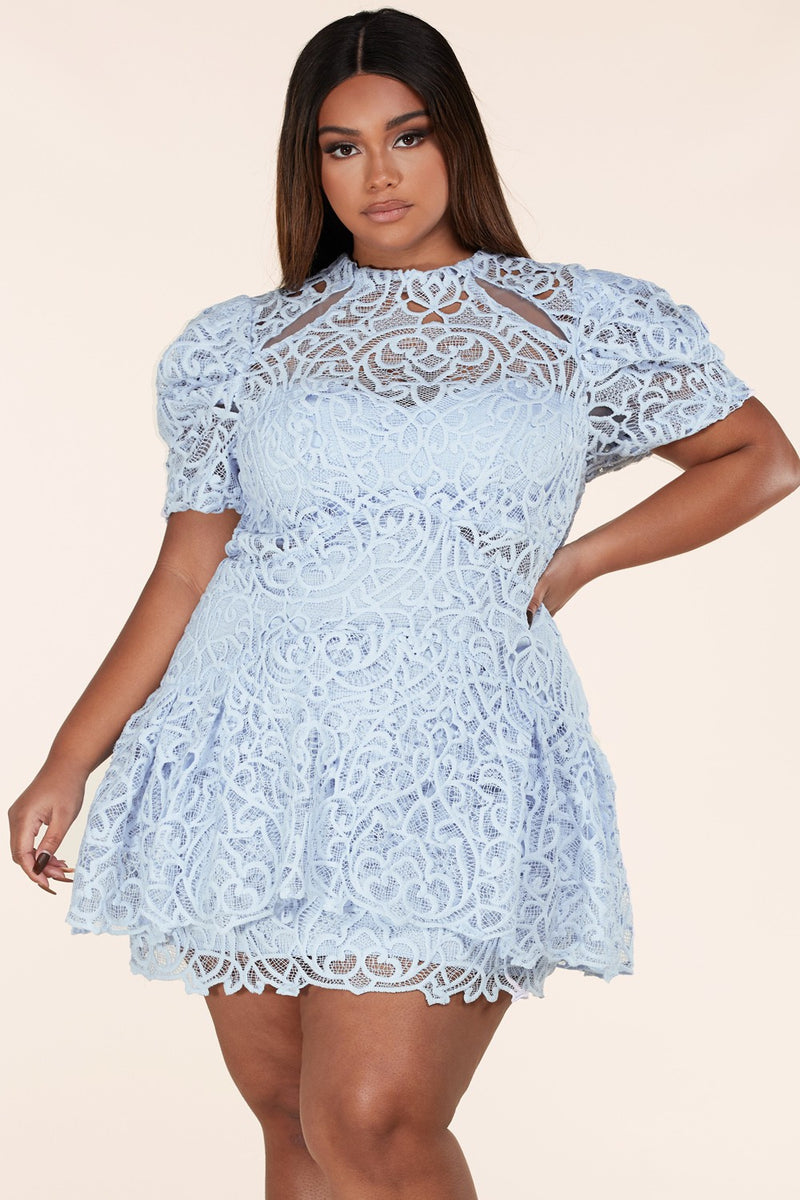 Sky Blue Intricate Crochet Lace Plus Dress