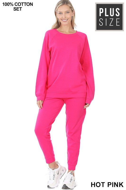 Aurora Raglan Sleeve Jogger Set (Fuchsia) (FINAL SALE)
