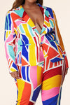Multicolor Abstract Print Pantsuit