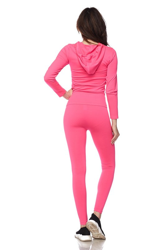 Fuchsia Active Wear Zip Up Hoodie and Legging Tights (FINAL SALE)