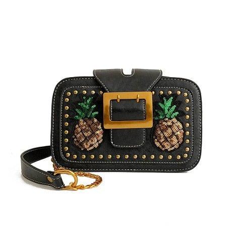 Pineapple Glitter CrossBody Bag