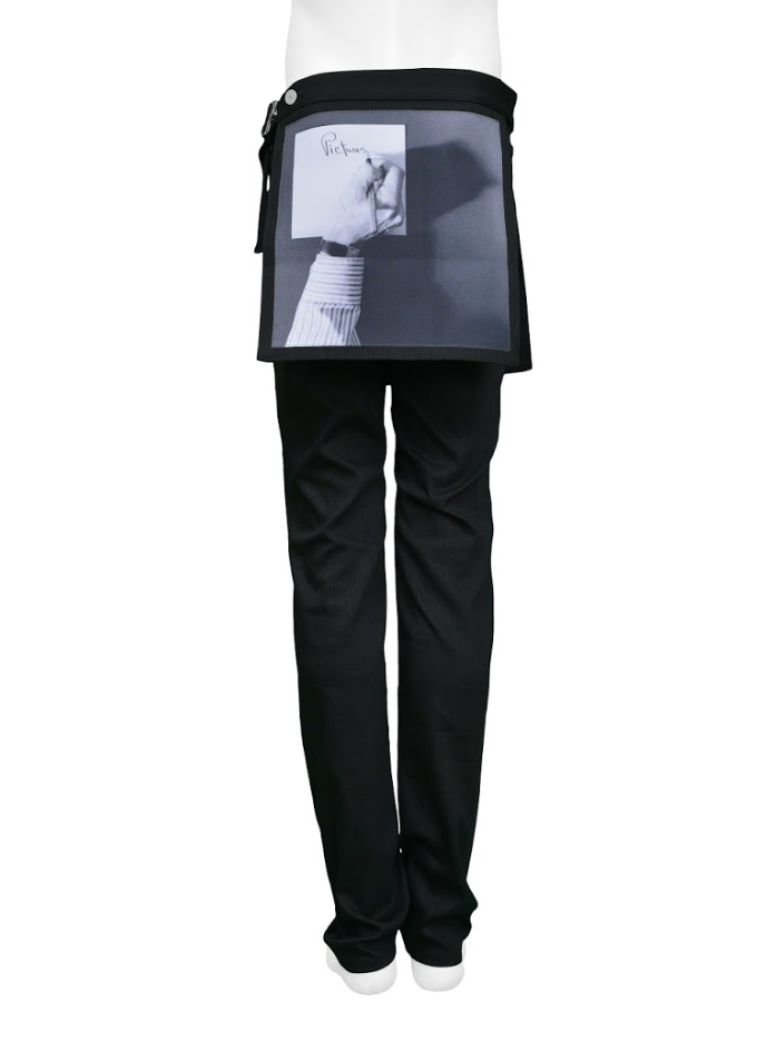 RAF SIMONS 2017 SS MAPPLETHORPE BLACK DENIM PANTS W/ DETACHABLE PHOTO PRINT LAYER