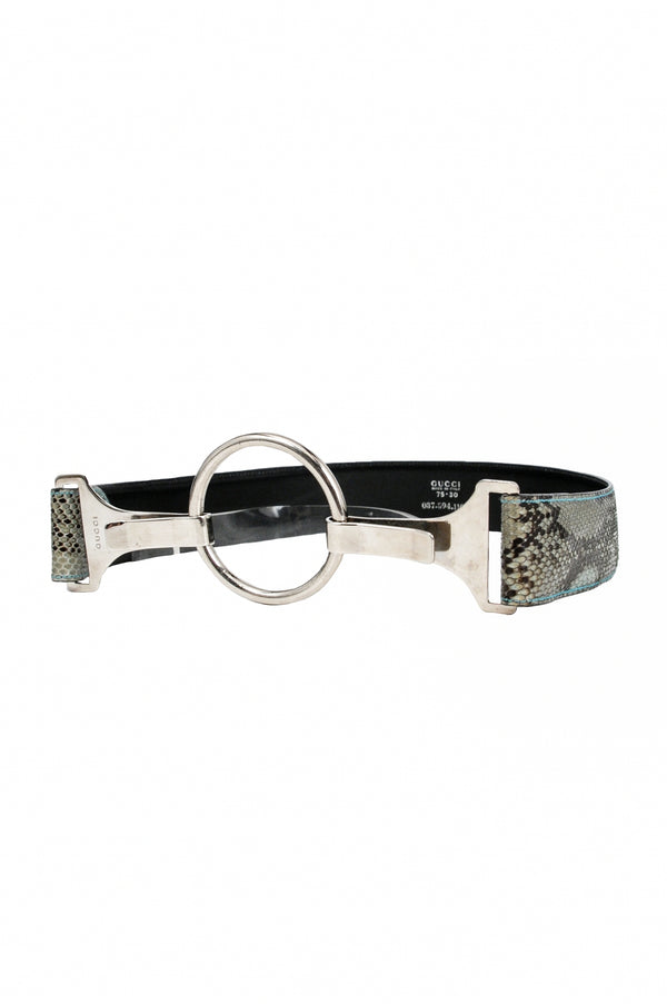 GUCCI BY TOM FORD BLUE SNAKE PRINT LEATHER BELT