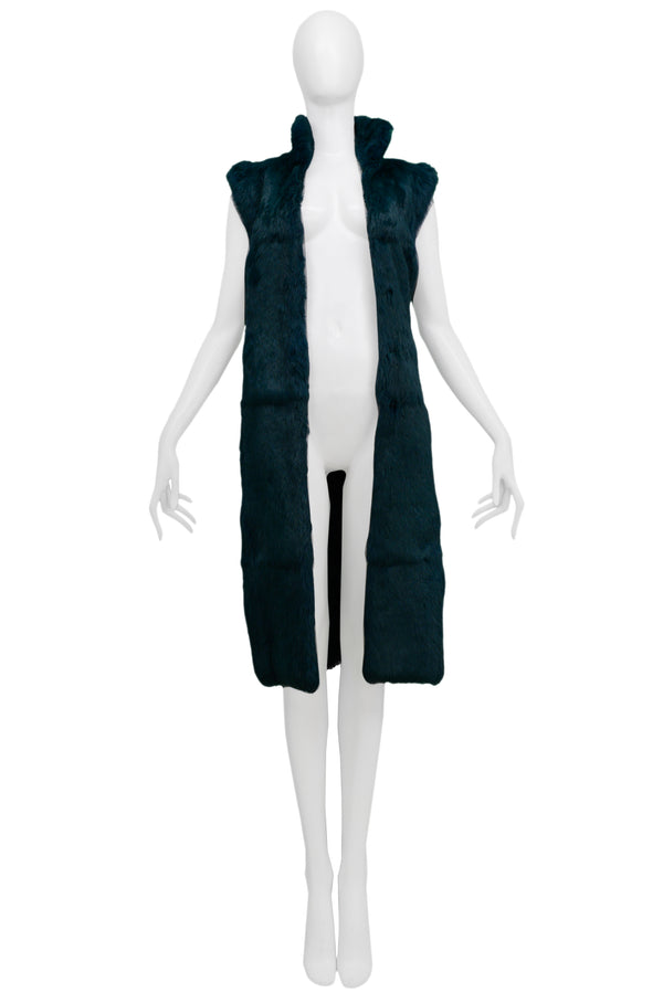 VERSACE GREEN RABBIT FUR LONG VEST 2000