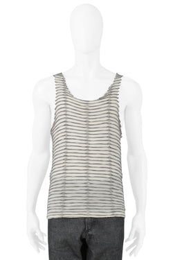 RAF SIMONS IVORY TANK WITH GREY FOLDS 2006